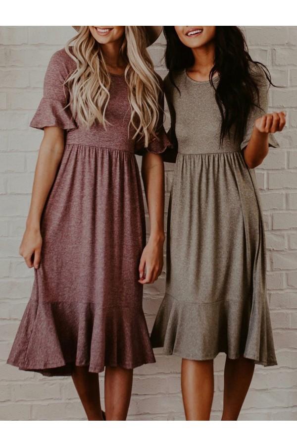 Ruffle Empire Waist Long Dress