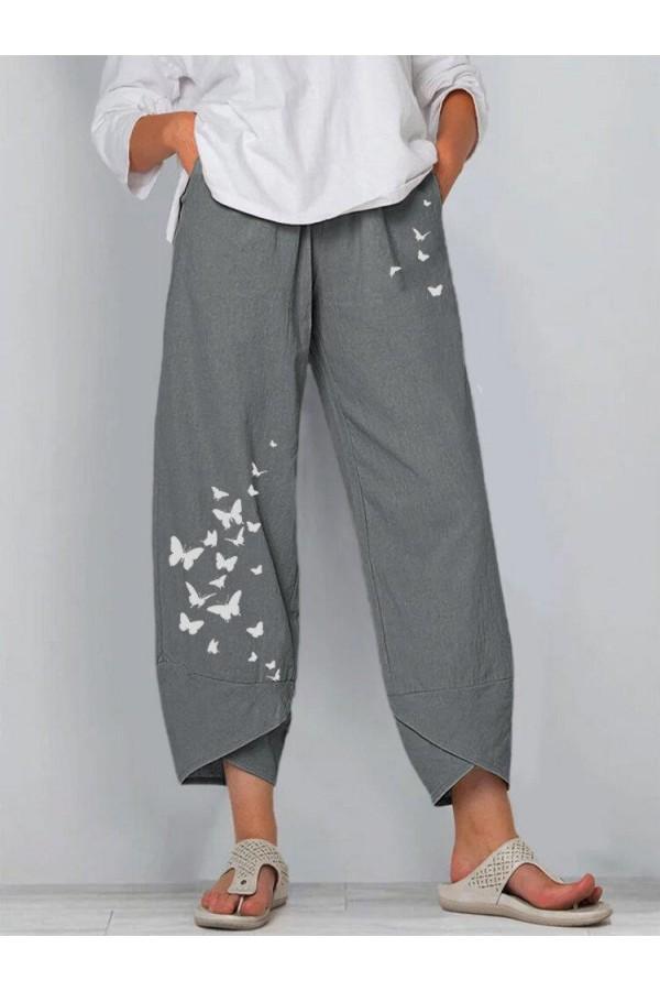 Women Butterfly Print Wideleg Pants
