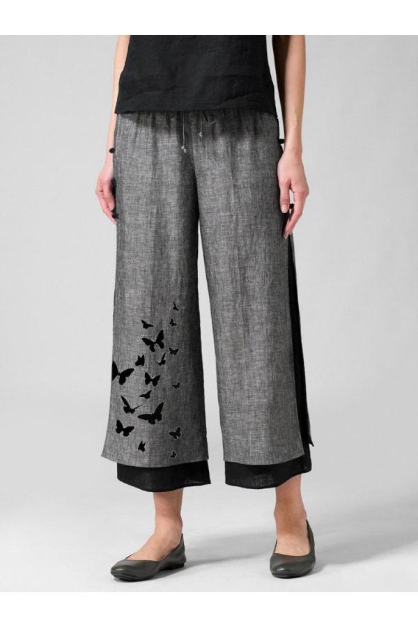 Butterflies Print Layered Frog Button Pants For Women