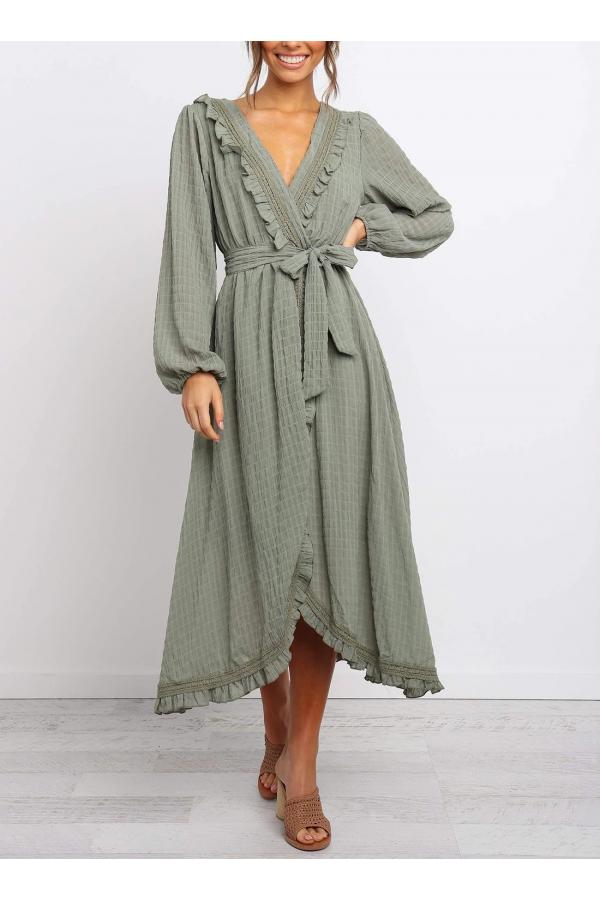 Ruffle And Lace Detail Midi Dress