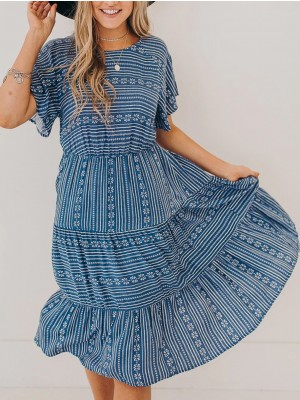Pure Bohemian Print Midi Dress