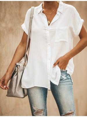 Summer Cool Solid Color VNeck ShortSleeved Casual Wear