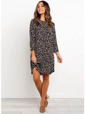 Leopard Printed Black Mini Dress