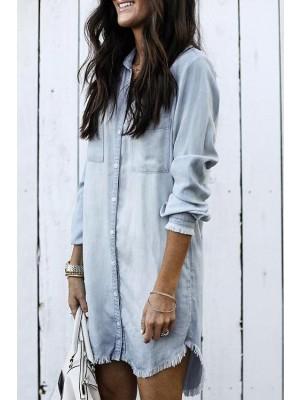 Distressed Edges Buttons Design Mini Dress