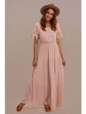 Pink Short Sleeve Round Neck Elastic Waist Maxi Dress