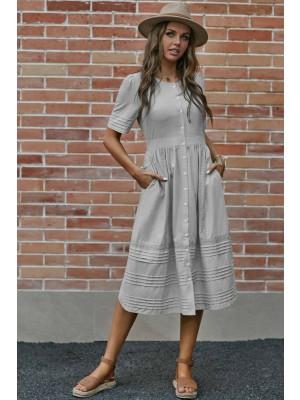 Short Sleeve Round Neckline Button Cotton Midi Dress