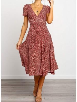 V Neck Waist Tie Leaf Printed Midi Dress