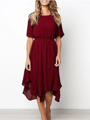 Round Neck Short Sleeve Elastic Waist Asymmetrical Hem Casual Dress