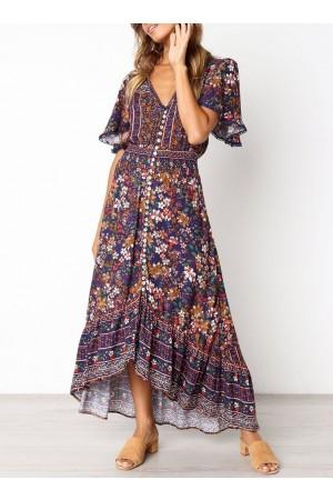 Vintage Bohemian Pattern V Neck Dress