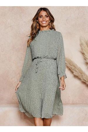 Long Sleeves Polka Dot Pleated Dress