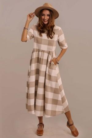 Taupe Half Sleeve Round Neck Gathered Waist Plaid Midi Dress With Pocket