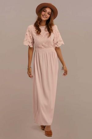 Half Sleeve Round Neck Elastic Waist Lace Maxi Dress