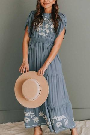 Blue Tulip Sleeve Embroidery Maxi Dress
