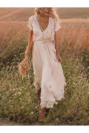 Beige Frill Sleeve Women Summer Maxi Dress