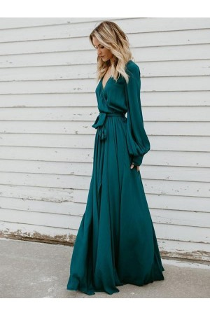 V Neck Long Sleeves Belted Maxi Dress