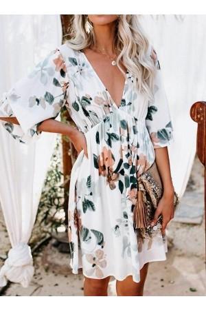 Sleeve Print Above Knee Pullover Regular Dress
