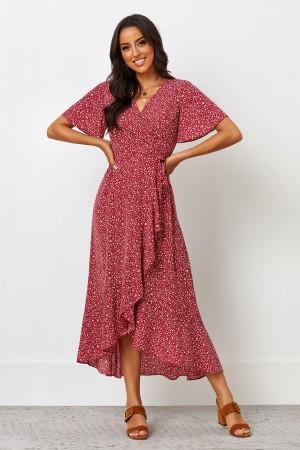 V Neckline Short Sleeves Tie Waist Midi Dress