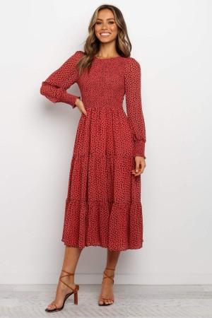 Round Neckline Long Sleeves With Elasticised Cuff Midi Dress