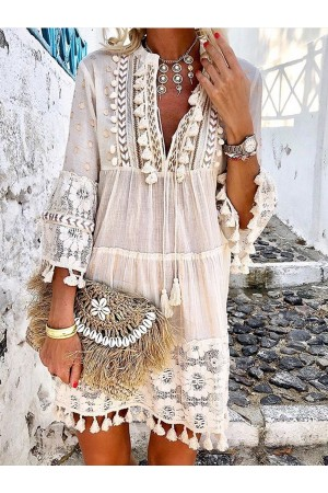 3/4 Sleeve V Neck Holiday Boho Mini Dress