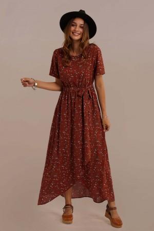 Short Sleeve Round Neck Elastic Waist Along With a Belt Tie Floral Maxi Dress