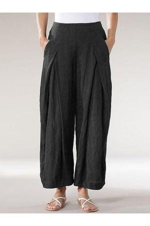 Vintage Elastic Waist Wide Legs Loose Pants