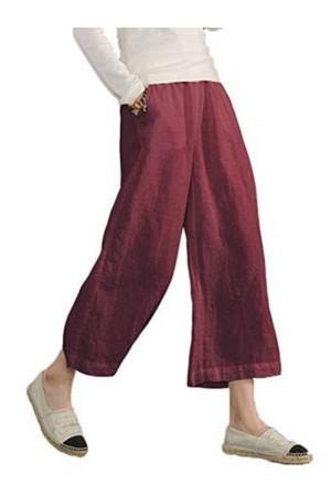 Solid Casual Wide Legs Linen Pants