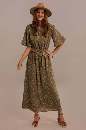 Half Sleeve Round Neck Tie Waist Summer Maxi Dress
