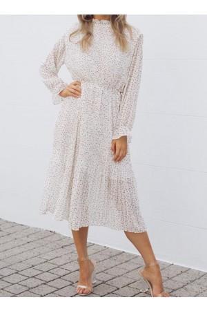 Long Sleeve Polka Dot Pleated Dress