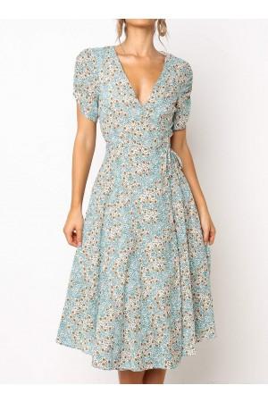 Deep V Neck Wrap Style Floral Midi Dress