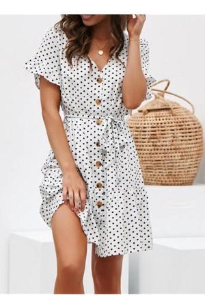 Casual Short Sleeve Polka White Dot Dress