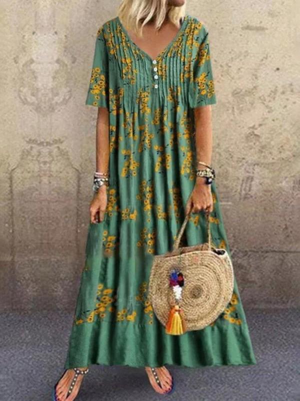 Green Casual V Neck Dresses