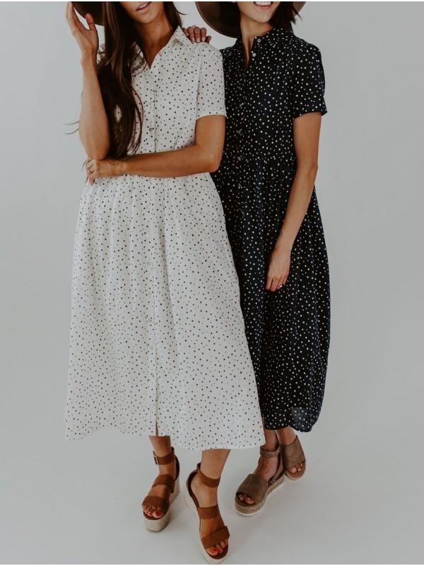 Cute Spotted Shirt Collar Midi Dress