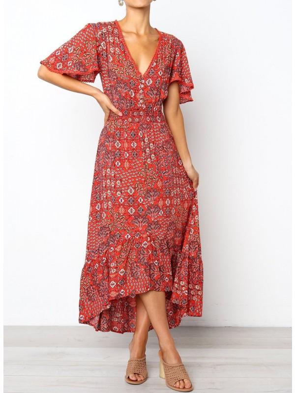 Short Sleeve Button Frilled Floral Maxi Dress