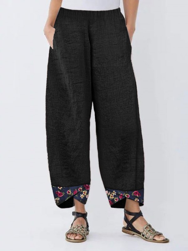 Irregular Floral Print Patchwork Pants For Women