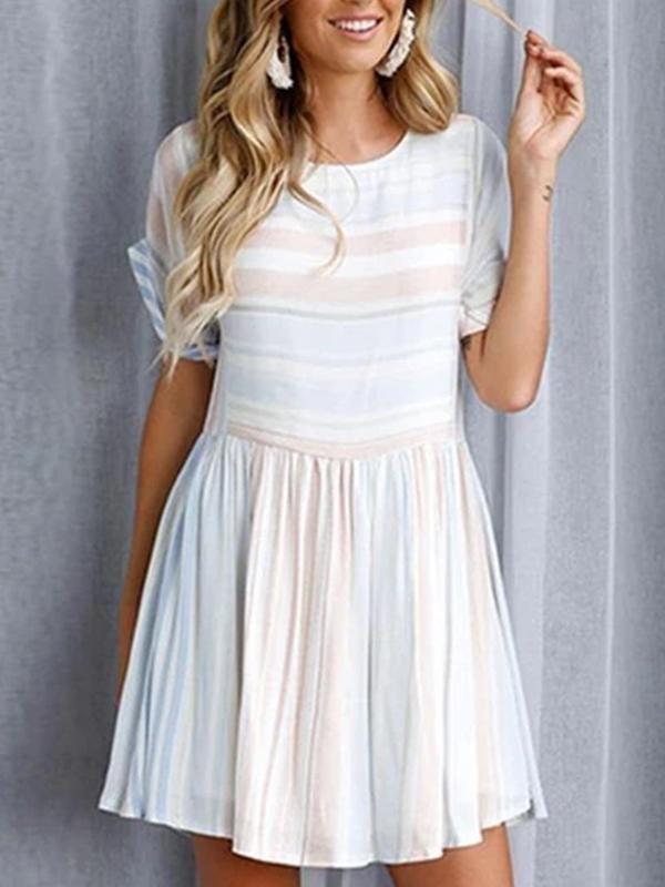 Zuri Baby Blue Stripe Mini Dress