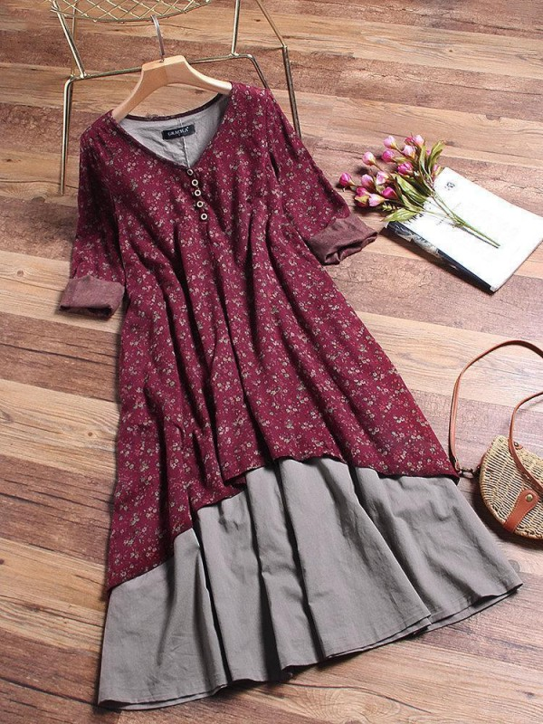 Floral Printed Two Layers Long Sleeve Vintage Dresses