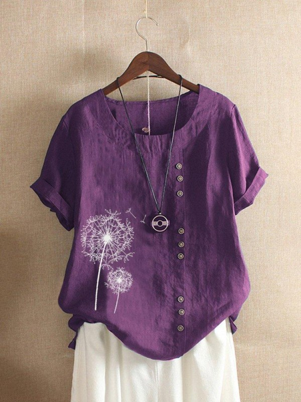 Vintage Print Flower Short Sleeve Button TShirt