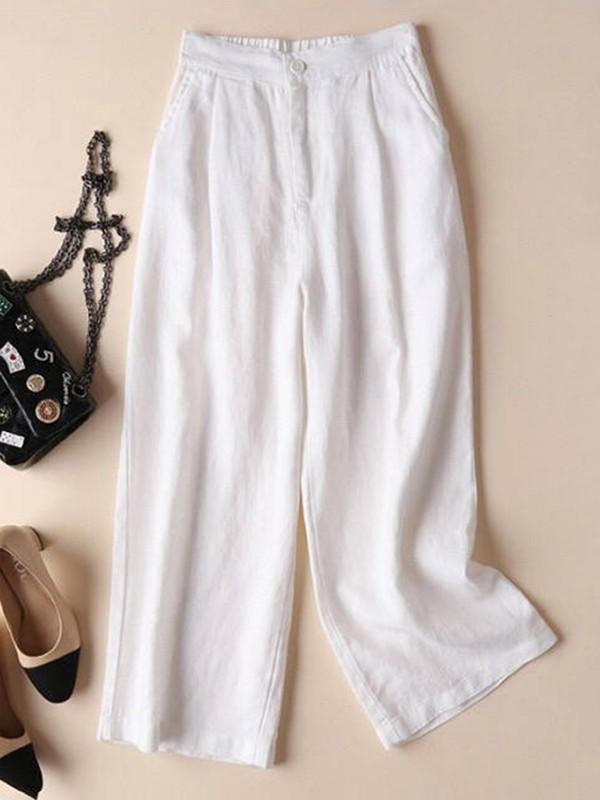 Solid Pockets Elastic Linen Casual Straight Pants