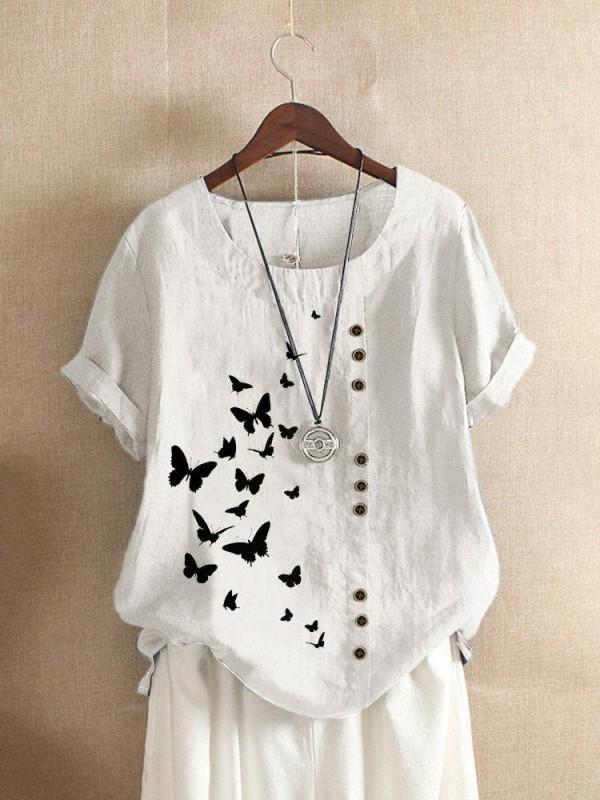 Butterflies Print Button Short Sleeve Casual Tshirt For Women