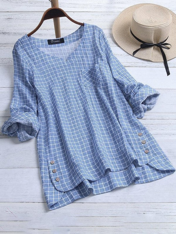 Casual Plaid Irregular Hem Button Long Sleeve Plus Size Blouse