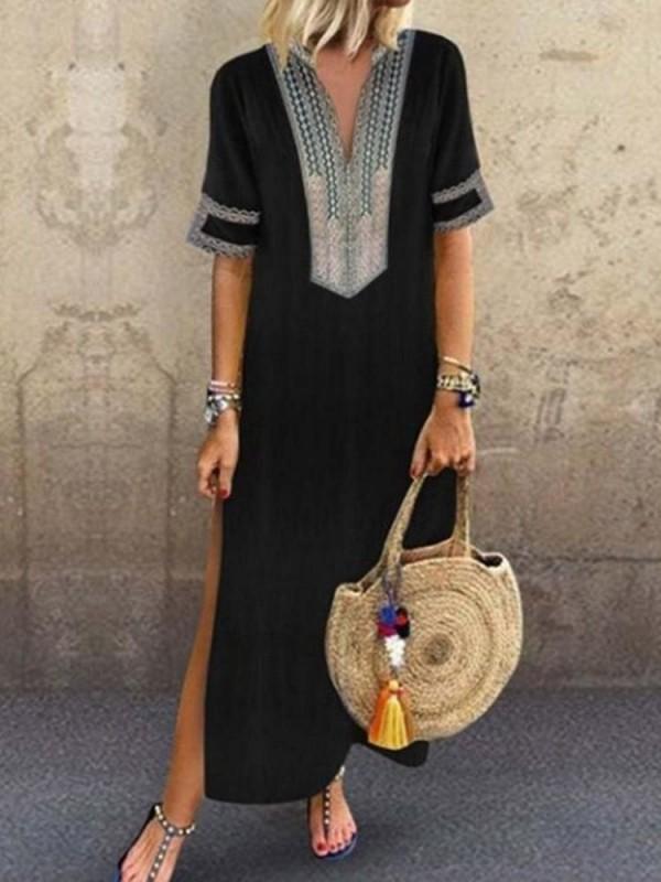 Split Short Sleeve VNeck Travel Look ALine Dress