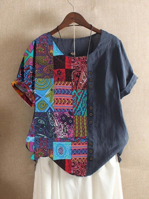 Folk Style Print Patchwork Short Sleeve Summer Tshirt