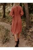 PURE 3/4 SLEEVE PLEATED PRINT DRESS