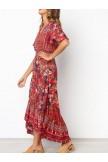 Vintage Bohemian Pattern VNeck Dress