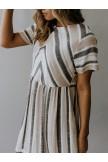 Simple Striped Round Neck Midi Dress