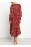 Floral Print Shirred Cuff Midi Dress