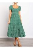 Square Neckline Short Sleeve Floral Ruffled Midi Dress