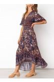 Lace Trim Button Front Floral Maxi Dress