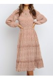 Polka Dot Print Ruffled Midi Dress In Nude