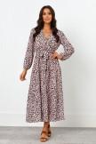 V Neckline Long Sleeves Elasticised Waist Maxi Dress